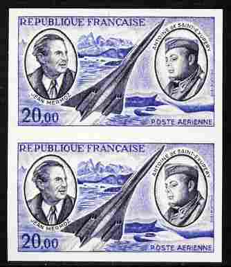 France 1970 Air Pioneers 20f (Mermoz, Saint-Exupery & Concorde)  'Maryland' imperf pair 'unused' forgery, as SG 1893 - the word Forgery is either handstamped or printed on the back and comes on a presentation card with descriptive notes