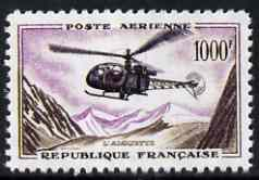 France 1957 Helicopter 1000f  'Maryland' perf 'unused' forgery, as SG 1320 - the word Forgery is either handstamped or printed on the back and comes on a presentation card with descriptive notes