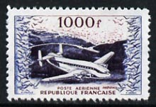 France 1954 Air - Provence Transport Plane 1000f  'Maryland' perf 'unused' forgery, as SG 1197 - the word Forgery is either handstamped or printed on the back and comes on a presentation card with descriptive notes, stamps on forgery, stamps on forgeries, stamps on aviation, stamps on maryland