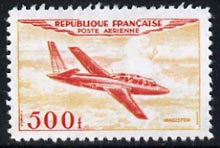 France 1954 Air - Magister 500f  'Maryland' perf 'unused' forgery, as SG 1196 - the word Forgery is either handstamped or printed on the back and comes on a presentation card with descriptive notes