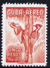 Cuba 1956 Woodpecker 5p red (from Air set)  'Maryland' perf 'unused' forgery, as SG 782 - the word Forgery is either handstamped or printed on the back and comes on a presentation card with descriptive notes