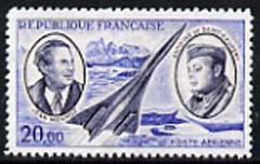 France 1970 Air Pioneers 20f (Mermoz, Saint-Exupery & Concorde)  'Maryland' perf 'unused' forgery, as SG 1893 - the word Forgery is either handstamped or printed on the back and comes on a presentation card with descriptive notes