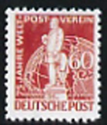 Germany - West Berlin 1949 75th Anniversary of Universal Postal Union 60pf lake-brown  'Maryland' perf 'unused' forgery, as SG B58 - the word Forgery is either handstamped or printed on the back and comes on a presentation card with descriptive notes