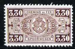 Belgium 1923 Railway Parcels 3f30 brown (key value)
