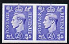 Great Britain 1941 2.5d light ultramarine imperf pair,  'Maryland' forgery 'unused', as SG 489d - the word Forgery is either handstamped or printed on the back and comes on a presentation card with descriptive notes