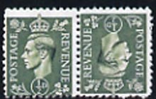 Great Britain 1941 1/2d pale green tete-beche pair,  'Maryland' forgery 'unused', as SG 485a - the word Forgery is either handstamped or printed on the back and comes on a presentation card with descriptive notes