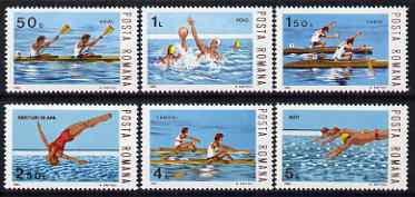 Rumania 1983 Water Sports set of 6 unmounted mint, SG 4801-06, stamps on sport, stamps on rowing, stamps on diving, stamps on water polo, stamps on swimming