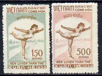 Vietnam - North 1958 Physical Edication set of 2 fine, unmounted mint SG N78-79