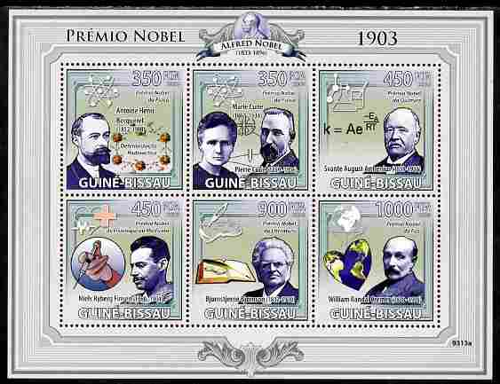 Guinea - Bissau 2009 Nobel Prize Winners for 1903 perf sheetlet containing 6 values unmounted mint Yv 2954-59, Mi 4230-35