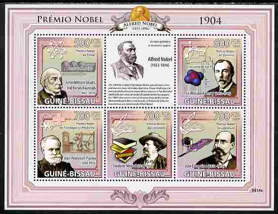 Guinea - Bissau 2009 Nobel Prize Winners for 1904 perf sheetlet containing 5 values unmounted mint Yv 2960-64, Mi 4248-52