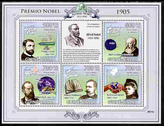 Guinea - Bissau 2009 Nobel Prize Winners for 1905 perf sheetlet containing 5 values unmounted mint Yv 2956-69, Mi 4253-57