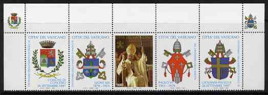 Vatican City 1997 Birth Cent of Pope Paul VI in se-tenant strip with 4 lables bearing coats of arms, unmounted mint