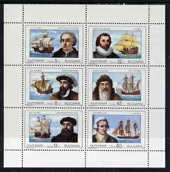 Bulgaria 1990 Navigators & Their Ships perf sheetlet of 6 unmounted mint SG3664-69