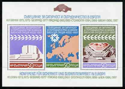 Bulgaria 1987  European Security and Co-operation Conference Review Meeting m/sheet of 3 values unmounted mint SG MS3482