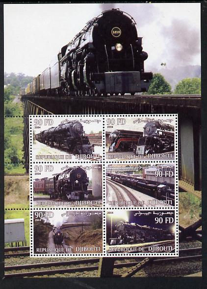 Djibouti 2004 Steam Locos perf sheetlet containing 6 values unmounted mint. Note this item is privately produced and is offered purely on its thematic appeal