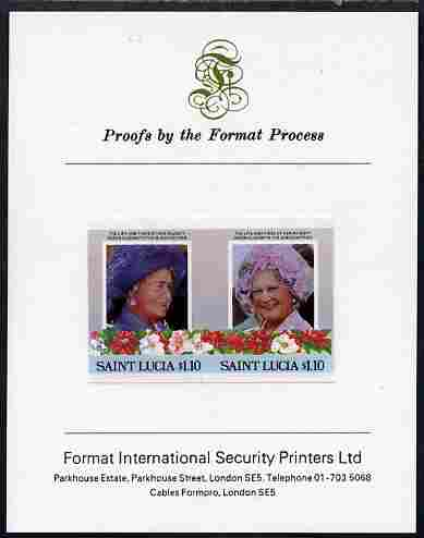 St Lucia 1985 Life & Times of HM Queen Mother (Leaders of the World) $1.10 se-tenant pair imperf mounted on Format International proof card