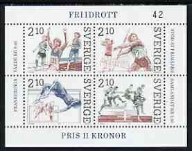 Sweden 1986 Athletics miniature sheet of 4 stamps fine unmounted mint, SG MS1314