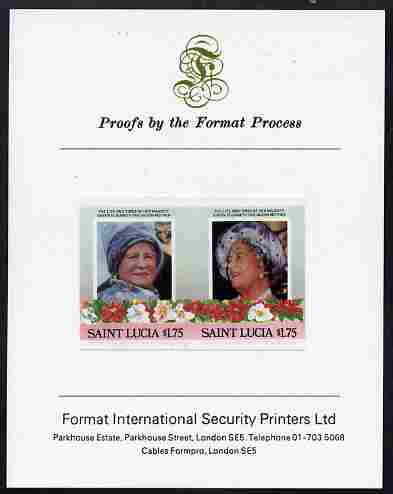 St Lucia 1985 Life & Times of HM Queen Mother (Leaders of the World) $1.75 se-tenant pair imperf mounted on Format International proof card, stamps on royalty, stamps on queen mother