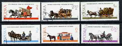 Poland 1980 Warsaw Horse-Drawn Vehicles set of 6 incl Fire Engine, Brewer's Dray & Tram, all fine used SG 2712-17*