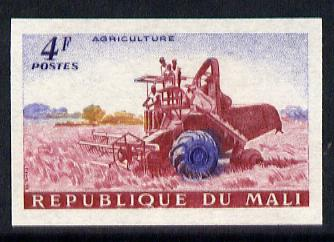 Mali 1961 def 4f (Combine Harvester in Rice Field) unmounted mint imperf colour trial proof (several different combinations available but price is for ONE) as SG 34