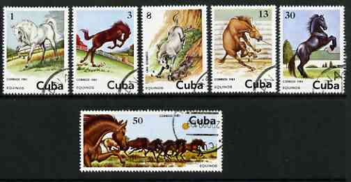Cuba 1981 Horses set of 6 cto used SG 2739-44
