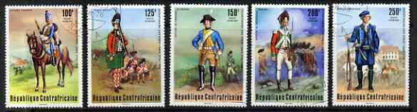 Central African Republic 1976 Bicent of American Revolution set of 5 showing military uniforms, fine cto used SG 416-420