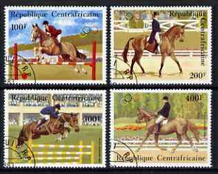 Central African Republic 1983 pre-Olympics set of 4 showing Equestrian sports fine cto used, SG 953-56