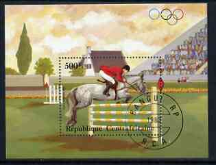 Central African Republic 1983 pre-Olympics 500f miniature sheet featuring Show Jumping cto used