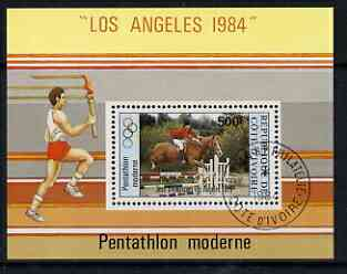 Ivory Coast 1984 Los Angeles Olympics 500f miniature sheet fine cto used  (Mi B26)