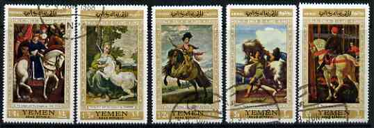 Yemen - Republic 1968 Paintings of Horses set of 5 fine cto used (Mi751-55)