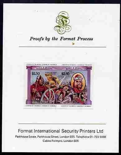 St Lucia 1984 Monarchs (Leaders of the World) the unissued $2.50 (Alfred the Great & Battle of Edington) se-tenant pair imperf mounted on Format International proof card