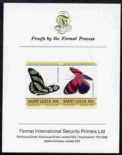 St Lucia 1985 Butterflies (Leaders of the World) 40c se-tenant pair imperf mounted on Format International proof card