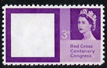 Great Britain 1963 Red Cross 3d with red (Cross) omitted,  'Maryland' perf forgery 'unused', as SG 642a - the word Forgery is either handstamped or printed on the back and comes on a presentation card with descriptive notes