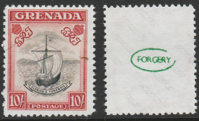 Grenada 1938-50 KG6 definitive Badge of Colony 10s,  'Maryland' perf forgery 'unused', as SG 163 - the word Forgery is either handstamped or printed on the back and comes on a presentation card with descriptive notes