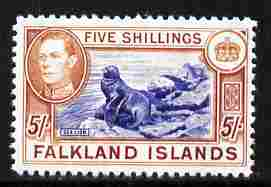Falkland Islands 1938-50 KG6 Sealion 5s  'Maryland' perf forgery 'unused', as SG 161 - the word Forgery is either handstamped or printed on the back and comes on a presentation card with descriptive notes