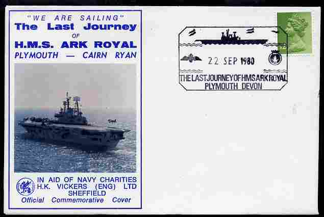 Postmark - Great Britain 1980 illustrated cover for Last Voyage of HMS Ark Royal with special Plymouth cancel, stamps on ships, stamps on flat tops