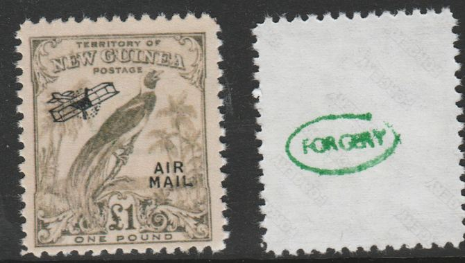 New Guinea 1932 Bird of Paradise �1 (without dates) opt'd Air Mail,  'Maryland' perf forgery 'unused', as SG 203 - the word Forgery is either handstamped or printed on the back and comes on a presentation card with descriptive notes