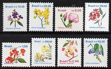 Brazil 1990 Flowers original set of 8 values, SG 2413-24