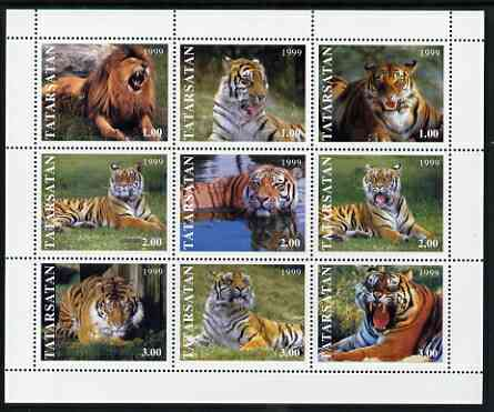 Tatarstan Republic 1999 Tigers perf sheetlet containing 9 values unmounted mint