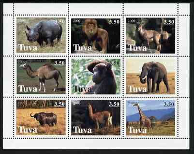 Touva 2000 Wild Animals perf sheetlet containing 9 values unmounted mint