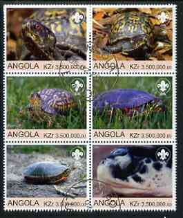 Angola 2000 Tortoises (with Scout Logo) set of 6 very fine cto used