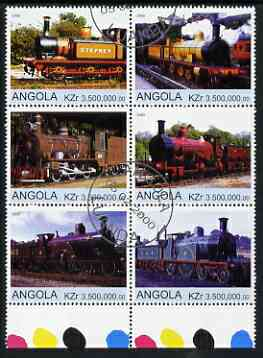 Angola 2000 Steam Locos #01 set of 6 very fine cto used