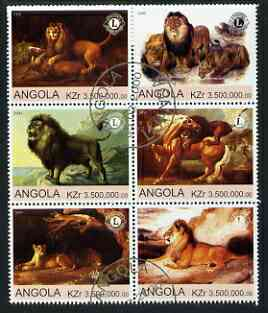 Angola 2000 Lions (with Lions Int Logo) set of 6 very fine cto used