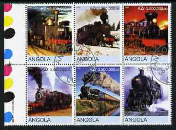 Angola 2000 Steam Locos #02 set of 6 very fine cto used