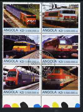Angola 2000 Modern Trains #01 set of 6 very fine cto used