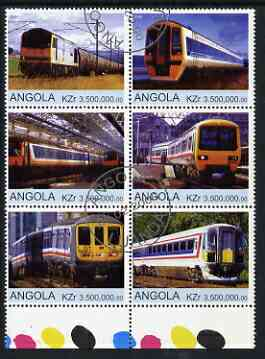 Angola 2000 Modern Trains #02 set of 6 very fine cto used