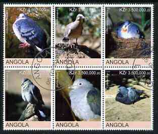 Angola 2000 Birds (Pigeons & Doves) set of 6 very fine cto used