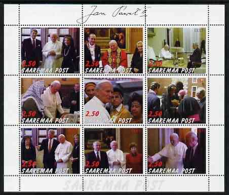 Estonia (Saaremaa) 2000 Pope John Paul II #2 perf sheetlet containing 9 values unmounted mint