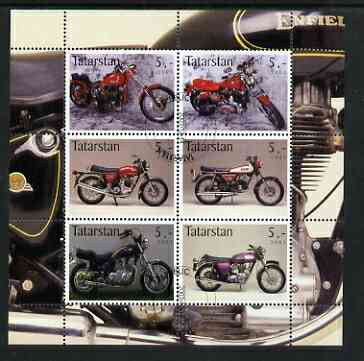 Tatarstan Republic 2003 Motorcycles perf sheetlet containing set of 6 values cto used