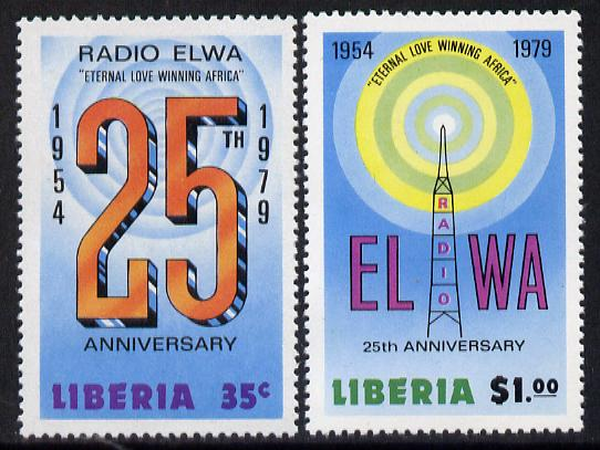 Liberia 1979 25th Anniversary of Radio ELWA perf set of 2 unmounted mint, SG 1369-70